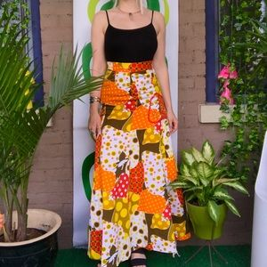 Vintage 60s 70s psychedelic strawberry maxi skirt